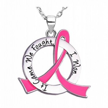 Fought Breast Cancer Survivor Necklace - Pink Ribbon - CZ12O41XNX1