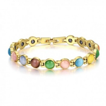 Magnetic Therapy Bracelets Round Opal Link Bracelets Pain Relief for Women 8 inches - Multicolored - C4186E8DKDT