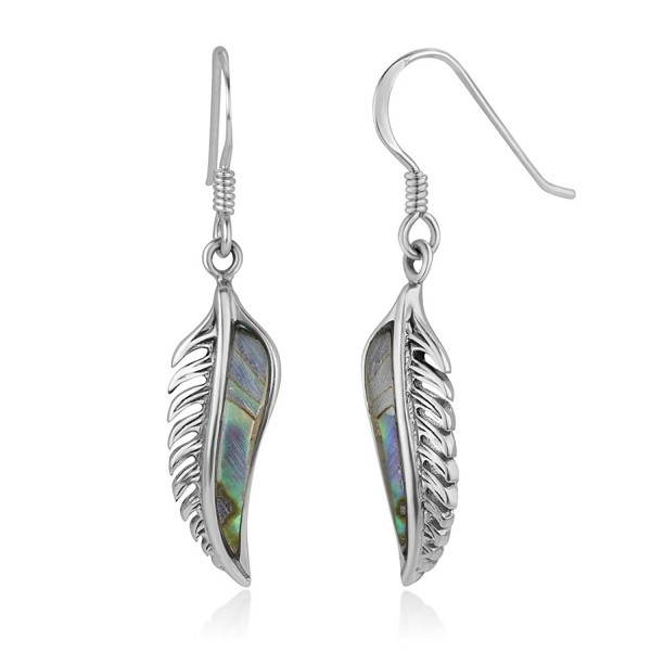 "925 Oxidized Sterling Silver Vintage Natural Abalone Feather Dangle Hook Earrings 1.5"" - CE182YR7SLL"
