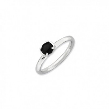 Silver Stackable Black Agate Ring - CS1188BSFFH