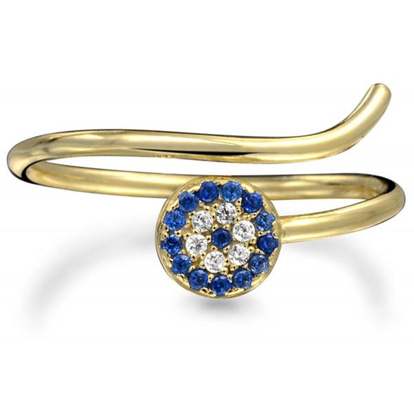 Evil Eye Simulated Sapphire CZ Stackable Gold Plated Silver Midi Ring - CH11SZ27GVN
