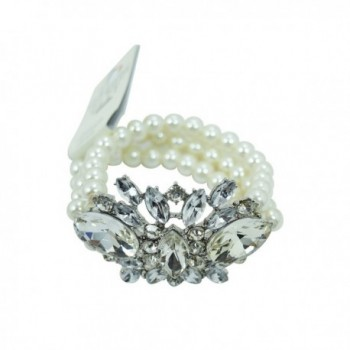 Wedding Shower White Imitation Pearl Multi-strand with Crystal Flower Acceent Bracelet - CU12BF6C17T