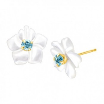 1/10 ct Natural Blue Topaz and Mother-of-Pearl Stud Earrings in 14K Gold - CZ11QU4KQV5