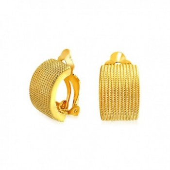 Bling Jewelry Gold Plated Alloy Twisted Rope Clip On Earrings - C311EWT74BP