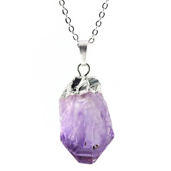 Natural Amethyst Necklaces Mothers Planted - Amethyst With Silver Bail & Stainless Steel Chain - CQ17YIWR2AX