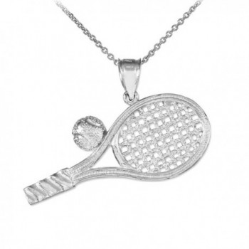 925 Sterling Silver Smashing Racquet and Ball Charm Tennis Pendant Necklace - CK125SS94IT