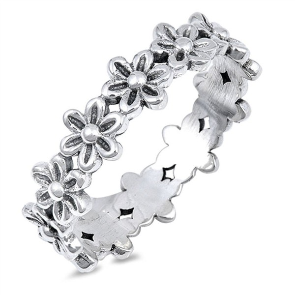 Plumeria Flower Eternity Promise Ring .925 Sterling Silver Daisy Band Sizes 4-10 - CI12NSTDA2L