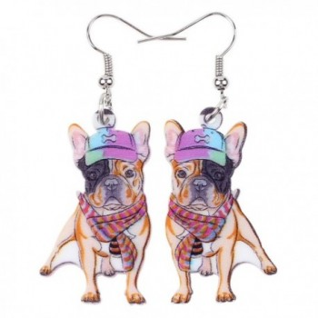 Bonsny Acrylic Drop Dangle French Bulldog Earrings Funny Design Lovely Gift For Girl Women Jewelry - Multicolor - CS12KXL0IGN