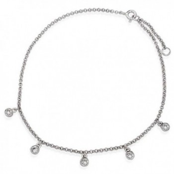 Bling Jewelry Bezel Setting CZ Dangle Charms Rolo Chain Anklet 925 Sterling Silver - C4119B12R5H