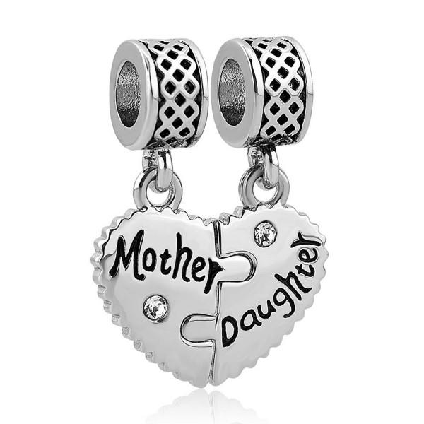 LovelyCharms Mother Son Daughter Heart Charm Set Dangle Bead Fits European Bracelets - CG18802AWDL
