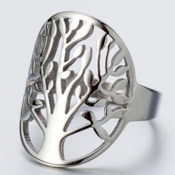 Stainless Steel Tree Life Ring in Women's Statement Rings