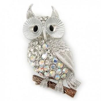 Clear- AB Swarovski Crystal Owl Brooch/ Pendant In Rhodium Plating - 40mm Length - C611JHIQSIB