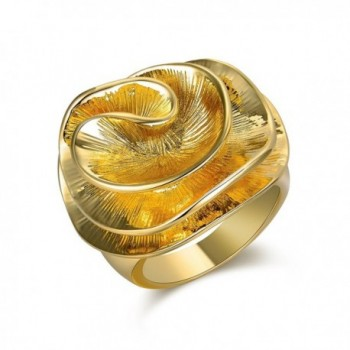 Mytys Gold Wave Flower Ring Fashion Jewelry Womens Unique Chunky Cocktail Rings - C4188HMC4GD