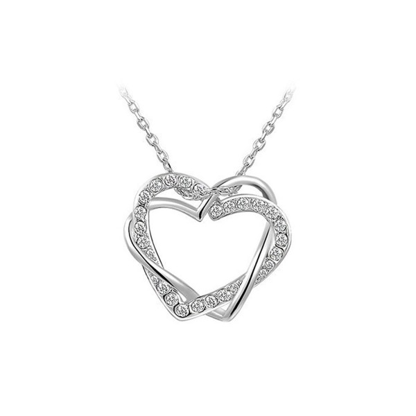 Bling Stars Double Heart Interlocking Crystal Pendant Plated Platinum Necklace - White - CK12FQK9T8T