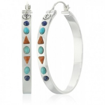 Barse Sterling Silver and Genuine Stone Hoop Earrings - C512FAQV7W9