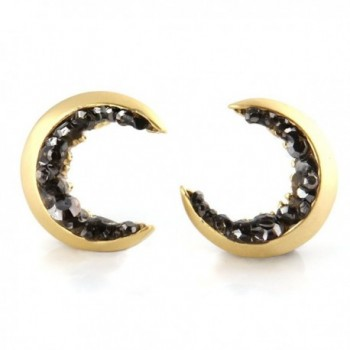 Laonato Crescent Moon and Black CZ Earrings - Gold - CX12NH3CDLV