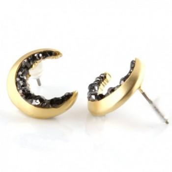 Laonato Crescent Moon Black Earrings