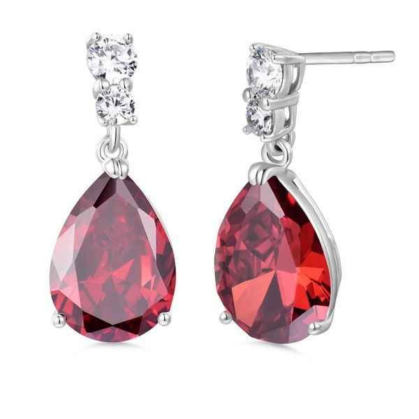 GULICX Bling Silver Tone Cubic Zirconia Pear Distinctive Engagement Party Dangle Earrings - red - CD11YD3O5VH