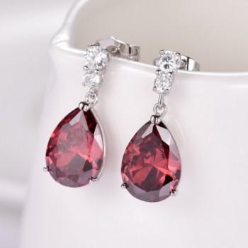 GULICX Silver Zircon Charming Earrings in Women's Drop & Dangle Earrings