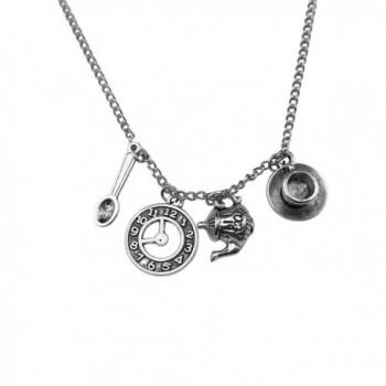 Art Attack Silvertone Wonderland Teapot Spoon Tea Time Clock Time Cup Saucer Charm Pendant Necklace - CK12H8X3MDZ