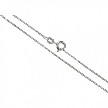 Silvertone 1.1mm Box Chain Necklace - Made in Italy (RO-3D54-KDWB) - rhodium-plated-silver - CX11U60UI53