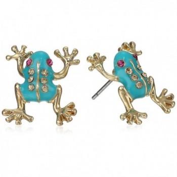Betsey Johnson Womens Frog Stud Earrings - Blue - CT116D4NURJ