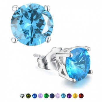 Stud Earrings-Casfine Silver Birthstone Round AAA Cubic Zirconia Diamond Earrings for Women - Mar-Aquamarine - CL188E5NXNO