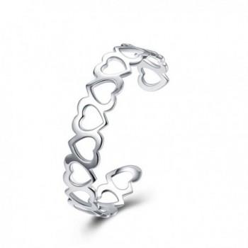 SUNGULF Sterling Silver Plated Open End Heart Cuff Bracelet Bangle for Women Teen Girls - CX12JMXEPS5