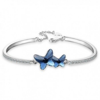 "EleQueen Women's Silver-tone CZ ""Butterfly Love"" Bangle Bracelet Denim Blue Adorned with Swarovski Crystals - CZ12O5KGINP"