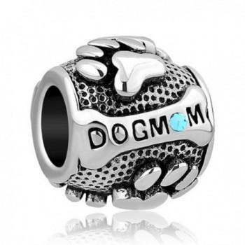 Q&Locket Birthday Charms Dog Mom Paw Print Charm Animal Bead For Bracelets - Mar Blue - CI188080K6O