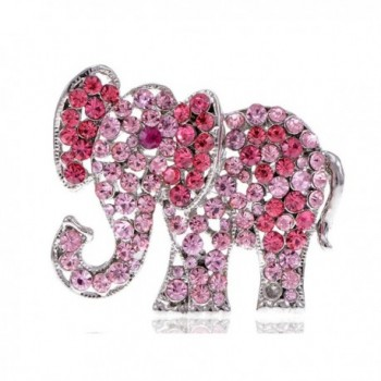 Alilang Womens Silvery Tone Clear Blue Pink Rhinestones African Baby Elephant Brooch Pin - Pink - C4113T2GCSH