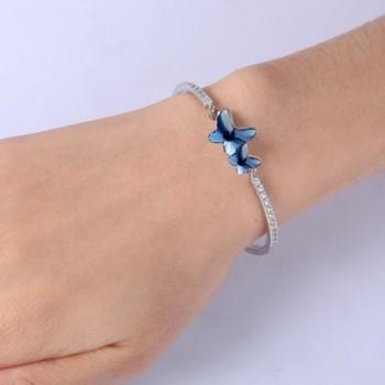 EleQueen Silver tone Butterfly Bracelet Swarovski in Women's Bangle Bracelets