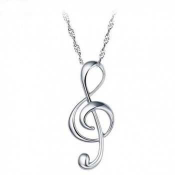 Mother's Day Gift 925 Sterling Silver Musical Symbols Note Pendant Necklace Fine Jewelry for Women LSN26 - CZ12O9Q9R0R
