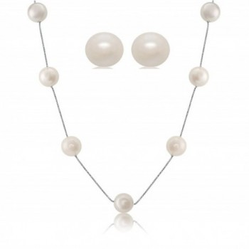Sterling Silver White Shell Pearl Station Necklace Earrings- Gift Boxed Set (11-12 mm) - C6116QZO3GH