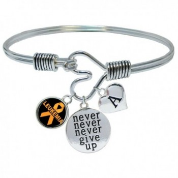 Custom Leukemia Awareness Ribbon Never Give Up Bracelet Choose Initial - CX185UTDZAC