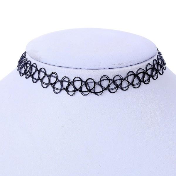 YAZILIND Black Vintage Stretch Tattoo Henna Choker Hippy Necklace Wholesale 10pcs - C111QY9V1VP