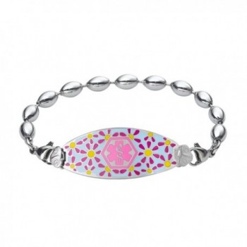 Divoti Custom Engraved Darling Daisy Medical Alert Bracelet -Rice Bead Stainless -Pink - CK12NDULTFS