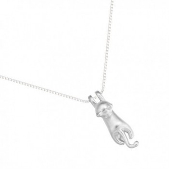 925 Sterling Silver Bright Climbing Cat Animal Pendant Necklace - CW12O45JEQK