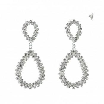 Jagged Teardrop Design Pave Drop Earrings in Silver-Tone - CE11VSVYOKJ