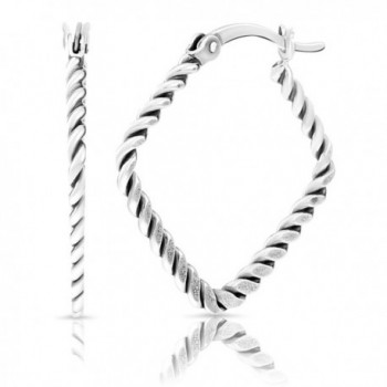 Small Sterling Silver Twisted Flat Square Hoop Earrings - CH186I389IW