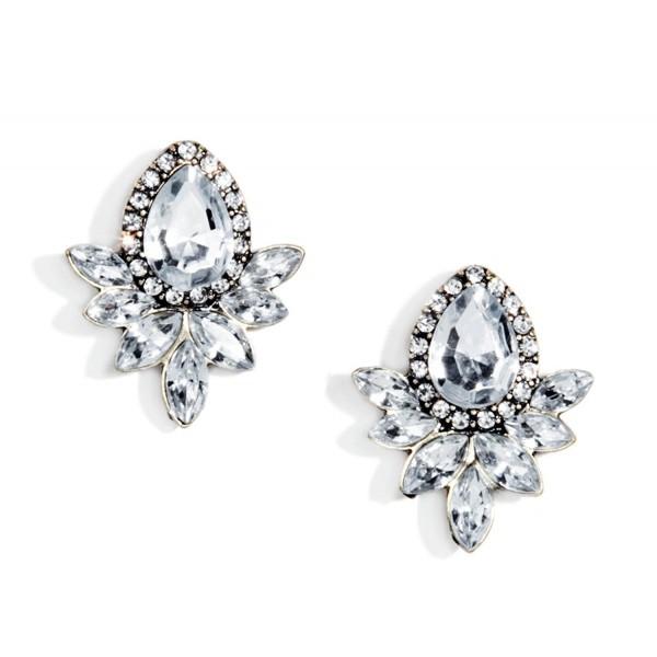 Statement Earrings in Silver Color | Ear Studs Vintage Inspired Design - CH12BM1UTM1