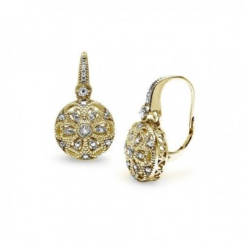 Yellow Gold Flashed Sterling Silver Round Filigree Diamond Accent Leverback Drop Earrings- IJ-I3 - CO17Z4N84AX