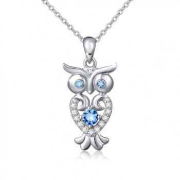 """S925 Sterling Silver Lucky Owl Necklace for Women- Rolo Chain 18"""" - CV182T7KHLZ"""