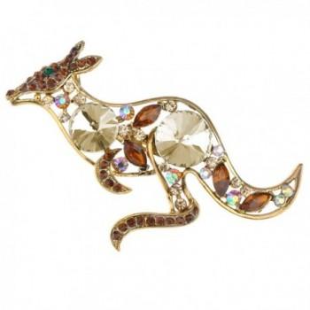Alilang Golden Tone Topaz Colored Rhinestones Australian Kangaroo Cutout Brooch Pin - CO1163ZMQO1