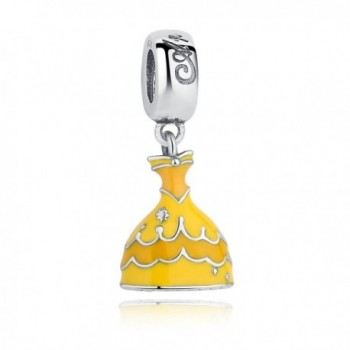 Bamoer Sterling Silver Snow Dress European Dangle charm beads with Yellow Enamel for DIY Bracelet - CL12C83PP17