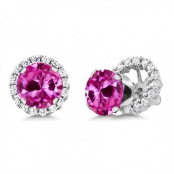 3.76 Ct Round Pink Created Sapphire Sterling Silver Stud Earrings with Jackets - CN11MDF24QP