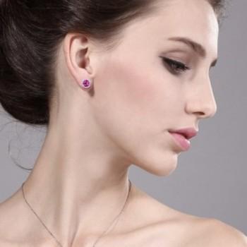 Created Sapphire Sterling Earrings Jackets in Women's Stud Earrings