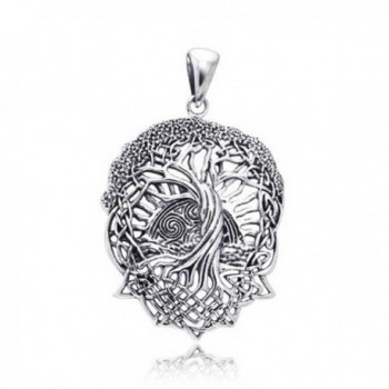Rising Sun Celtic Knot Tree of Life Stelring Silver Pendant - CY116Q2MGGT