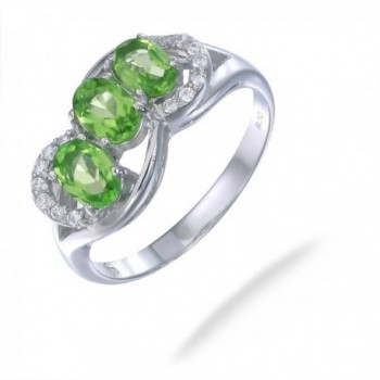 Sterling Silver Peridot 3 Stone Ring (1.15 CT) - CF11963841L