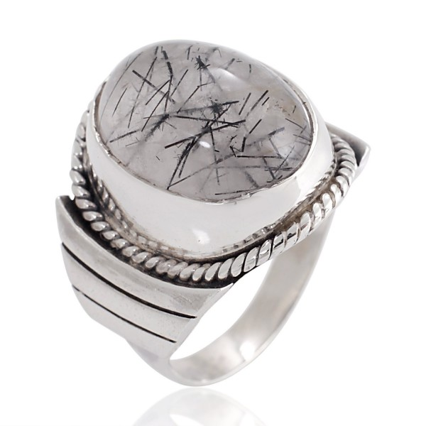 925 Sterling Silver Natural Black Rutile Quartz Gemstone Oval Rope Edge Unisex Band Ring 6- 7- 8 - CC12BNBDG7F